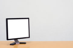 Workspace background, Blank white computer screen, monitor screen Stock Photography