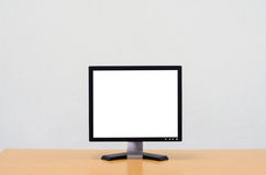 Workspace background, Blank white computer screen, monitor screen Stock Image