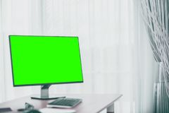Workspace background with desktop pc and office accessories . royalty free stock images