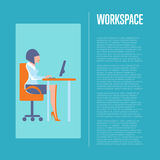 Workspace banner with business woman Royalty Free Stock Photography