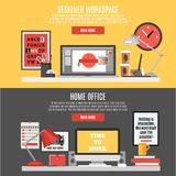 Workspace Banner Set Royalty Free Stock Photos