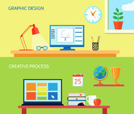Workspace Banner Set Stock Photo