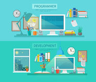 Workspace Banner Set Royalty Free Stock Images