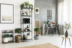 Workspace in bright living room. Branches in a vase on wooden stool and plants in bright living room with workspace Stock Photo
