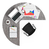 Workspace of Businessman with laptop. 3d Rendering. Workspace of Businessman with laptop on a white background. 3d Rendering Royalty Free Stock Images