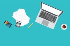 Workspace bussinesman or freelancer. Workspace equipment for freelancer or businessman Stock Image