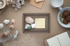 Workspace - coffee, and cookie on table. Backgroun royalty free stock photo
