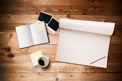 Workspace with coffee cup and notebook Royalty Free Stock Photo