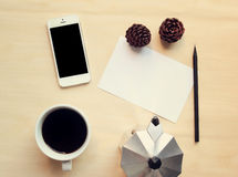 Workspace and coffee mock up set Stock Photo