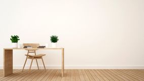 Workspace or coffee shop minimal design - 3D Rendering Royalty Free Stock Photo