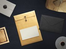 Workspace composed of postal parcel with envelope. Top view. Tools on background Royalty Free Stock Photography