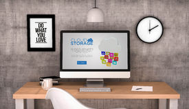 Workspace computer cloud storage website Stock Photo