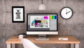 workspace computer graphic design stock photo