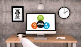 Workspace computer Inbound Marketing strategy. Digital generated workspace desktop with Inbound Marketing on screen computer. All screen graphics are made up. 3D Stock Image