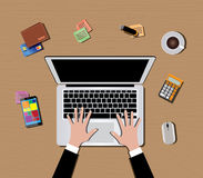 Workspace with computer keyboard mouse coffee smartphone Stock Images