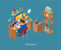 Workspace concept design 3d isometric  illustration Royalty Free Stock Photography