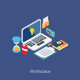 Workspace concept design 3d isometric  illustration Royalty Free Stock Photos