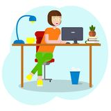 Workspace concept with devices .Girl student at workplace with a graphic tablet .Woman, businesswoman, graphic designer vector illustration