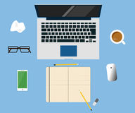 Workspace creative concept laptop vector flat design illustration. On blue background Royalty Free Stock Photos