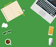 Workspace creative concept laptop vector flat design illustration. On green background Royalty Free Stock Photography