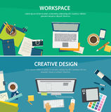 Workspace and creative design banner template stock illustration