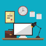 Workspace desk clock computer suitcase lamp and diploma Royalty Free Stock Image