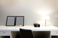Workspace with desk lamp on home Stock Photography