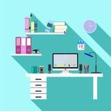 Workspace desk in office. Flat workspace desk in office Royalty Free Stock Photo