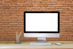 Workspace desktop mockup, desktop computer and office supplies. Mock up : Comfortable workplace with modern desktop computer. Blank screen for graphic display Royalty Free Stock Photos