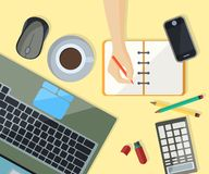 Workspace with electronic equipment and chancellery in flat desi Stock Photography