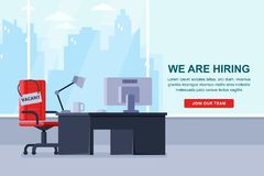 Workspace för anställd med kontorsstol och vakans undertecknar Rekrytering som hyr affärsidé också vektor för coreldrawillustrati royaltyfri illustrationer
