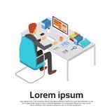 Workspace för skrivbord för dator för arbete för affärsman royaltyfri illustrationer