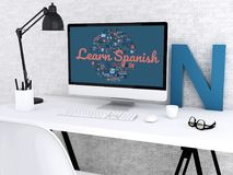 workspace för student 3d med datoren vektor illustrationer