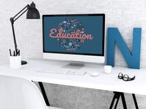 workspace för student 3d med datoren Royaltyfria Bilder