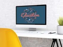 workspace för student 3d med datoren Arkivbild