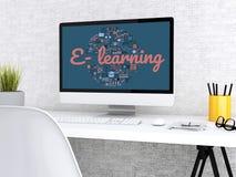 workspace för student 3d med datoren stock illustrationer