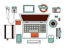 Workspace flat design vector Royalty Free Stock Photography