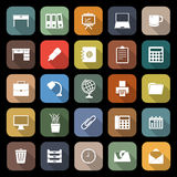Workspace flat icons with long shadow Royalty Free Stock Photos