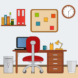 Workspace in flat style. Home room with workplace. Vector illustration Stock Photo