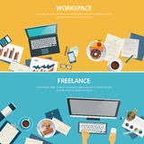 Workspace and freelance banner flat design template Royalty Free Stock Photo