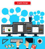 Workspace Graphic Design Monitor Tablet Keyboard Royalty Free Stock Image