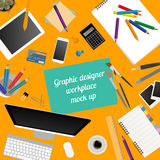Workspace of the graphic designer. Mock up for creating your own Stock Photos
