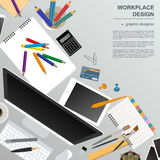 Workspace of the graphic designer. Mock up for creating your own Royalty Free Stock Photo