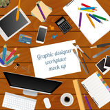 Workspace of the graphic designer. Mock up Royalty Free Stock Images