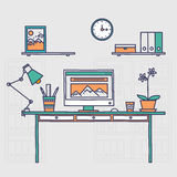 Workspace. Hand drawn office interior or home Royalty Free Stock Photo