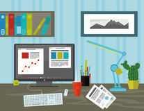 Workspace i kontoret Royaltyfri Bild