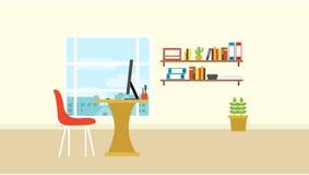 Workspace i rum med stadssikt ut ur fönstervektor Arkivfoto
