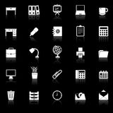 Workspace icons with reflect on black background Royalty Free Stock Photo