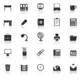 Workspace icons with reflect on white background Royalty Free Stock Photo