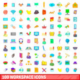 100 workspace icons set, cartoon style Royalty Free Stock Photography